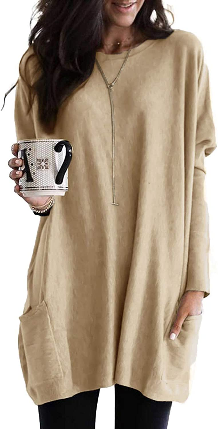 Pevilo Long Sleeve Tunic Tops for Women Casual Round Neck Solid Color Fall Blouses Tops