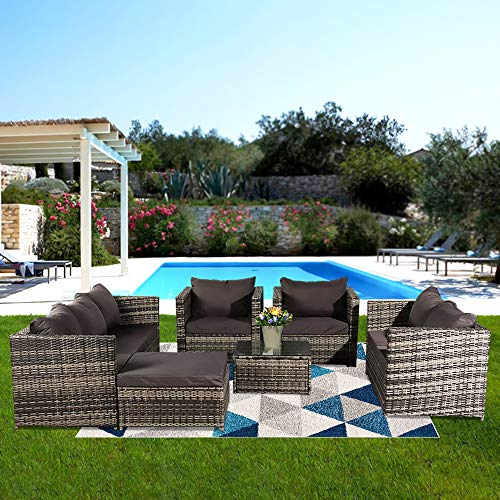 Patio Furniture Set,8 Seat Rattan Furniture Outdoor Sofa Dining Table With Rain Cover Perfect for Patio Lawn Pool Backyard (8 Seat)