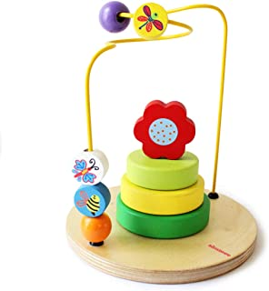 Shumee Wooden Garden Themed Flower Stacker & Maze Activity Toy (1-3 Years) | Develop Problem Solving and Imagination in To...