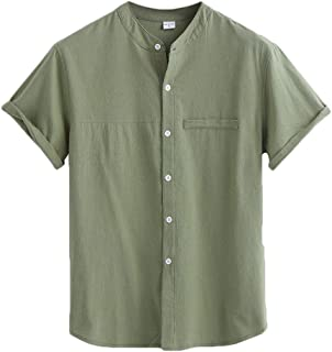 MU2M Men's Hipster Cotton Linen Stand Collar Short Sleeve Solid Color Button Front Shirt