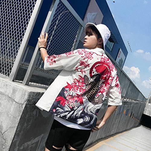QIFENJ X Hombres Kimono Japonés Rebeca De Los Hombres Yukata Blusa Haori OBI Ropa De La Ropa De Samurai Kimono Masculino Chaqueta De Punto Se avete domande Circa le dimensioni, Vi Prego di