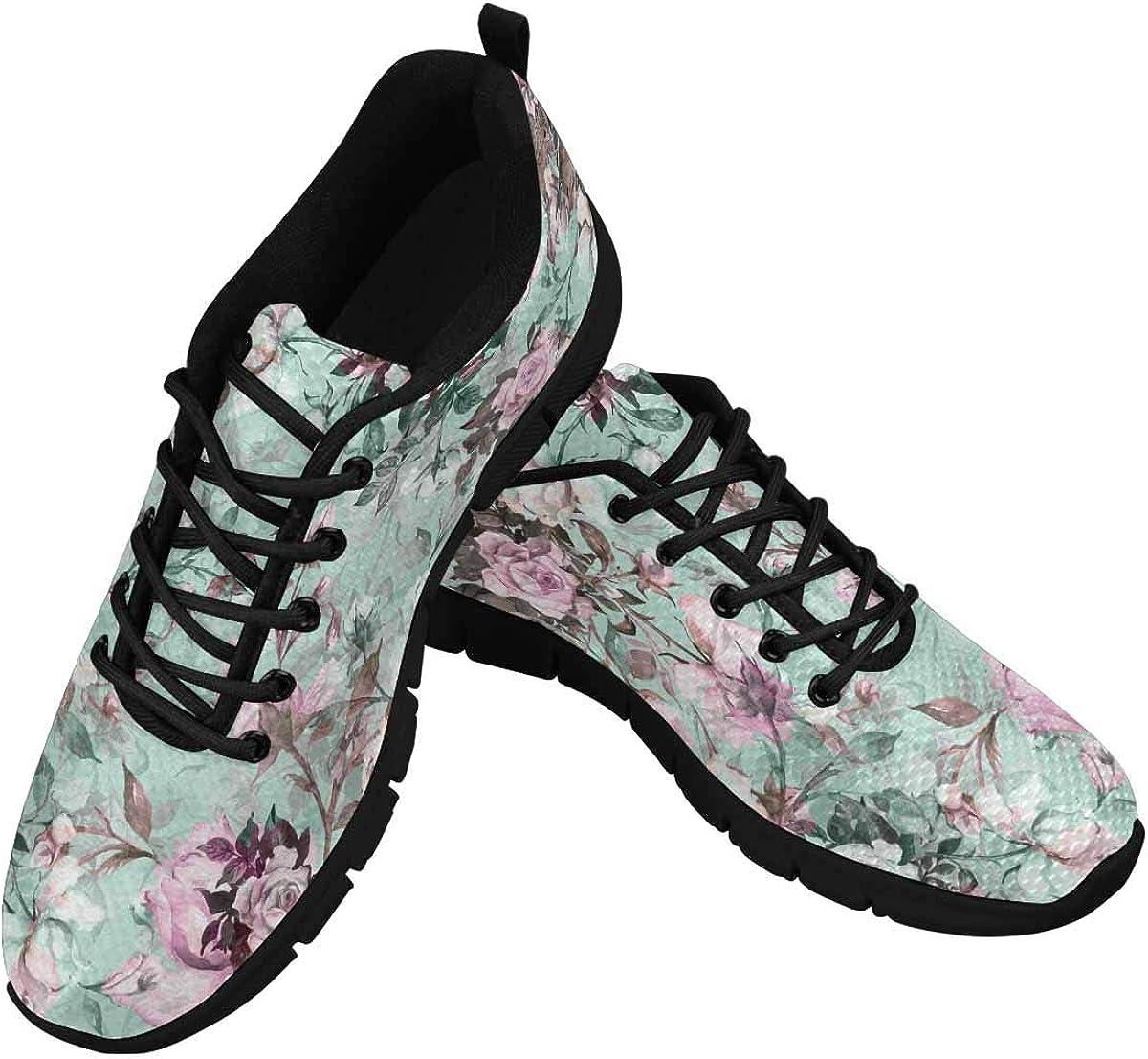 InterestPrint Beautiful Bouquet of Roses Flowers Women's Athletic Walking Shoes Breathe Comfort Mesh
