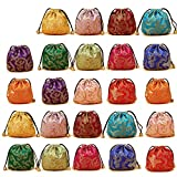 Elesa Miracle 24pcs Silk Brocade Jewelry Pouch Bag, Drawstring Coin Purse, Gift Bag Value Set