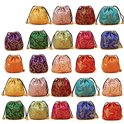 Price comparison product image Elesa Miracle 24pcs Silk Brocade Jewelry Pouch Bag,  Drawstring Coin Purse,  Gift Bag Value Set