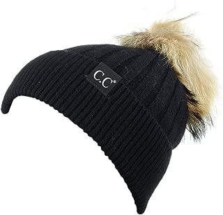 C.C Angora Knit Natural Fox Fur Pom Cuff Beanie Hat w/Black Label