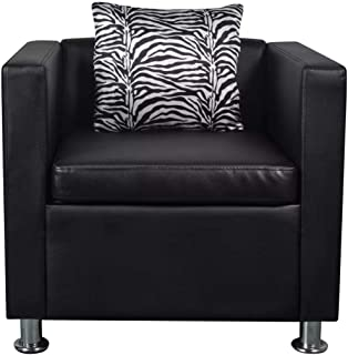 Festnight Leather Cube Armchair Single Sofa Chair with Thick Cushion and Pillow Armrest Tub Barrel Club Seat Chair Living Room Home Office Reception (Black)