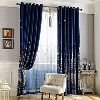 WUBODTI Navy Blue Blackout Curtain Panels,Kid Boys Nursery Room Darkening Thermal Insulated Drapes for Bedroom Living Room,Window Treatments Panel,Grommet,98 inch Long,1 Panel,Blue,Silver