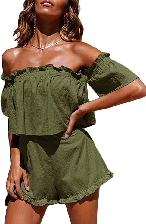 Product Name:Thereadict Women's Sexy 2 Piece Outfits Off Shoulder Ruffle Loose Shorts Set