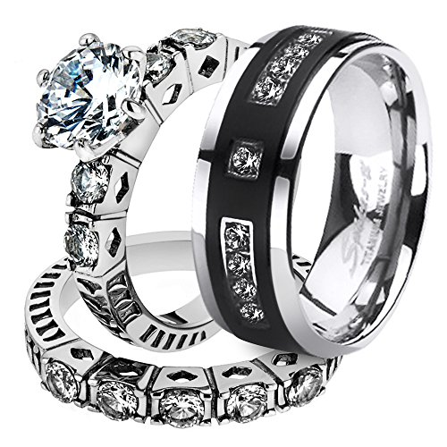 Marimor Jewelry His & Her Stainless Steel 3.10 Ct Cz Bridal Set & Men