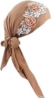 JESPER Women India Muslim Stretch Retro Floral Cotton Turban Hat Head Scarf Wrap Cap
