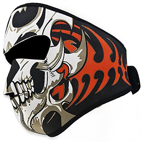 Lechi 2-in-1 Kopfbedeckung, doppelseitig, winddicht, schwarz, Tribal-Stil, klassischer Totenkopf, Neopren