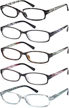 Gamma Ray Women's Reading Glasses 5 Pair Print Ladies Fashion Readers for Women - 1.25
