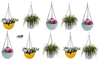 MOM'S GADGETS Multicolor Round Rattan Woven Plastic Flower Hanging Planter/Beautiful Round Gamla Pot/Flower Hanging Pot for Garden Balcony (Multicolor, Pack of 10)
