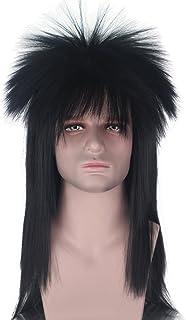 Long Straight 70s 80s Adult Rocker Heavy Metal Wig Blonde Black Color Disco Mullet Hair Cosplay Wig (Black)