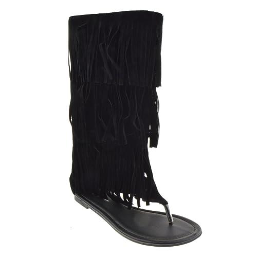 55cfc39fd00 Forever Anika 66 Womens Fringe Thong Flat Gladiator Sandals