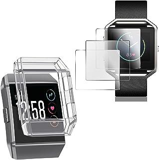 Fitbit Ionic 用 保護ケース + Fitbit Ionic用 保護フィルム AFUNTA TPU 耐衝撃 カバー 3枚 TPUフィルム Fitbit Ionic スマートウォッチ 用
