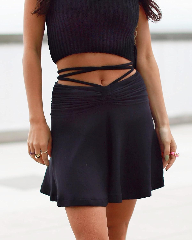 The Drop Women's Black Ruched-Waist Mini Skirt by @_laurenwolfe_