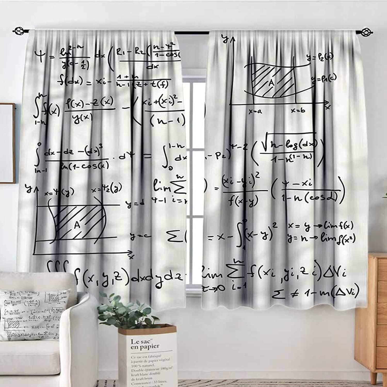 Sanring Mathematics Classroom,Kids Decor Curtain Math Research 52 x63  Printed Curtains for Iving Room