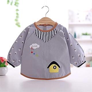 0-2 Years Old Children's Garb Bib Long Sleeve Waterproof Anti-wear Cotton Baby Apron Bib Unisex Baby Bibs (Color : H, Size...