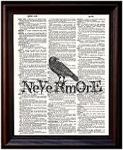 Dictionary Art Print - Edgar Allen Poe Nevermore - Printed on Recycled Vintage Dictionary Paper - 8