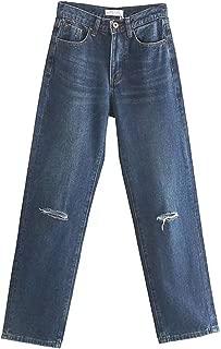 Vintage Mom Jeans High Waist Jeans Ripped Jeans for Women Hole Dark Blue Boyfriend Jeans for Women