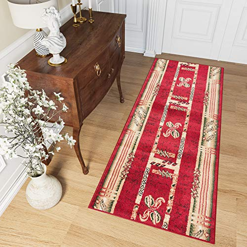 Tapiso Atlas Läufer Flur Kurzflor Teppich Küche Wohnzimmer Viereck Streifen Kaffee Retro Abstrakt Muster Rot Beige Meliert ÖKOTEX 80 x 400 cm