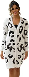 Xiaoa Womens Cardigans Knit Coats Casual Sweaters Button Down Outerwear Sweater Leopard Print Long Sweater