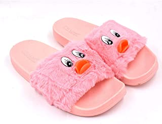 Fly Women Soft Fur Flip-Flop Slipper Pink