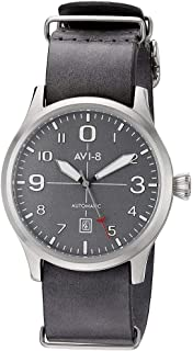 AVI-8 Men's 'Flyboy' Japanese Automatic Stainless Steel and Grey Leather Aviator Watch (Model: AV-4021-0B)