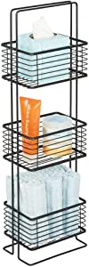 mDesign 3 Tier Vertical Standing Bathroom Shelving Unit, Decorative Metal Storage Organizer Tower Rack with 3 Basket Bins to Hold and Organize Tissues, Hand Soap, Toiletries - Black