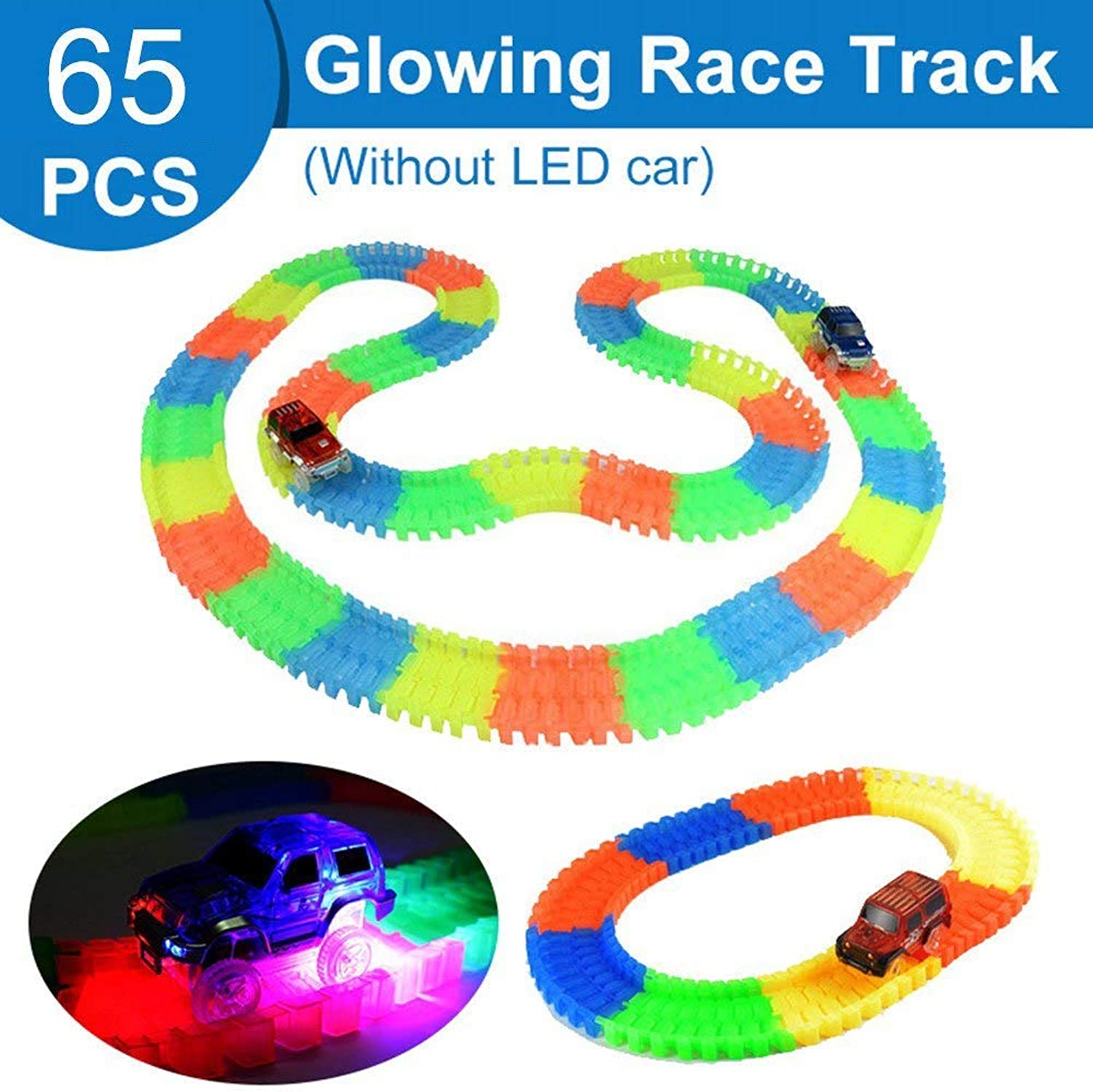 DIY Turntable Lift Accessories Miraculous Glowing Race Track Bend Flex Flash in The Dark Assembly Car Toy Glow Racing Track Set 65pcs Without car