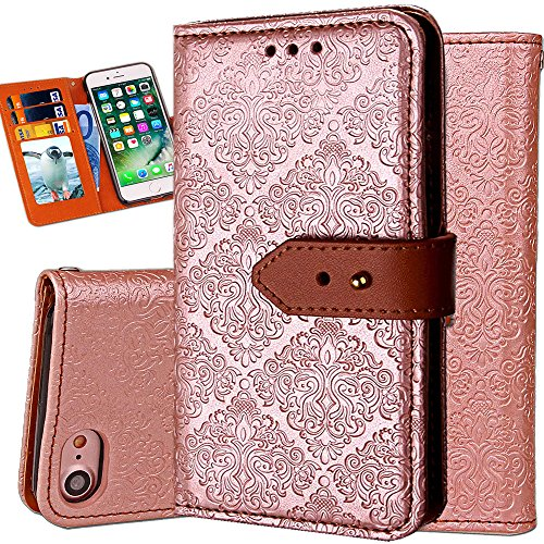 iPhone 6S Plus Leather Wallet Case,Auker Durable Folio Flip Vintage Fold Stand Case Full Body Shock Scratch Drop Protection Pocket Purse Cover with Card Holders&Wrist Strap for Women/Men-Gold