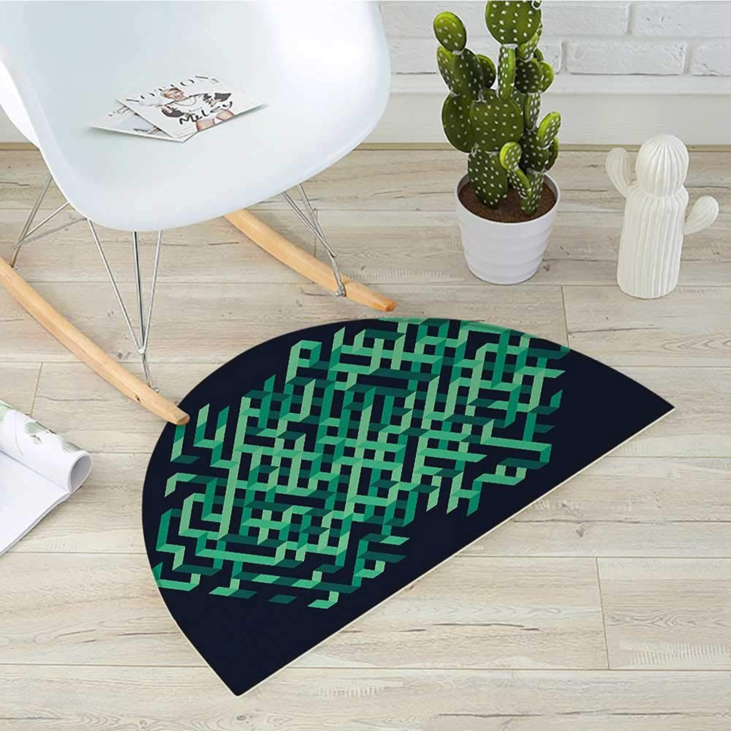 Modern Semicircle Doormat Geometric with Ombre Elements colord Lines Maze Like Circle Round Seem Image Halfmoon doormats H 31.5  xD 47.2  Green and bluee