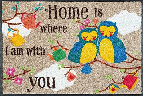 kleeneule Fußmatte/Fussmatte Fussabstreifer/Fußabstreifer/Fußabtreter - Eule - Eulen - Owl - Home is Where I am with You - 50 x 75 cm