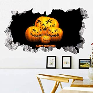 Fine Halloween Pumpkin 3D Broken Wall Sticker, Halloween Theme Party, Home, Cafe, Halloween Theme Hotel, Amusement Park Decoration, Vinyl Removable Decal Home Decor