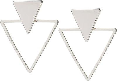 SIX 1 pz. di orecchini a lobo geometrici, triangolo in argento, retro anteriore (100-775)