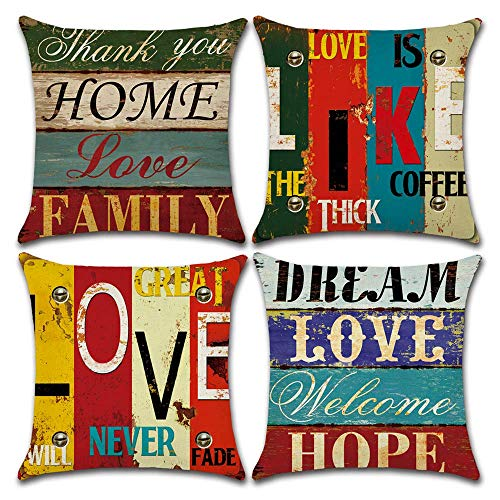 BECOSIM 45x45cm/18x18 Inch 4 Pack Cushion Cover Throw Pillow Case Decorative Square Linen Cushion Covers with Classical Words for Retro Style Living Room Sofa Chair Couch Seat