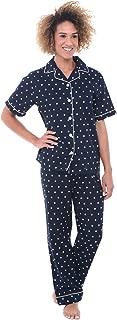 Women's Lightweight Button Down Pajama Set, Short Sleeved Polka Dot Cotton Pjs