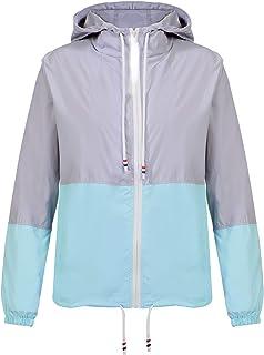 ANGGREK Womens Hooded Rain Jacket Waterproof Windbreaker Raincoat