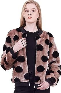 Amandina Luxe Full Zipper Loose Casual Polka dot Bomber Jacket for Women's Autumn Winter.
