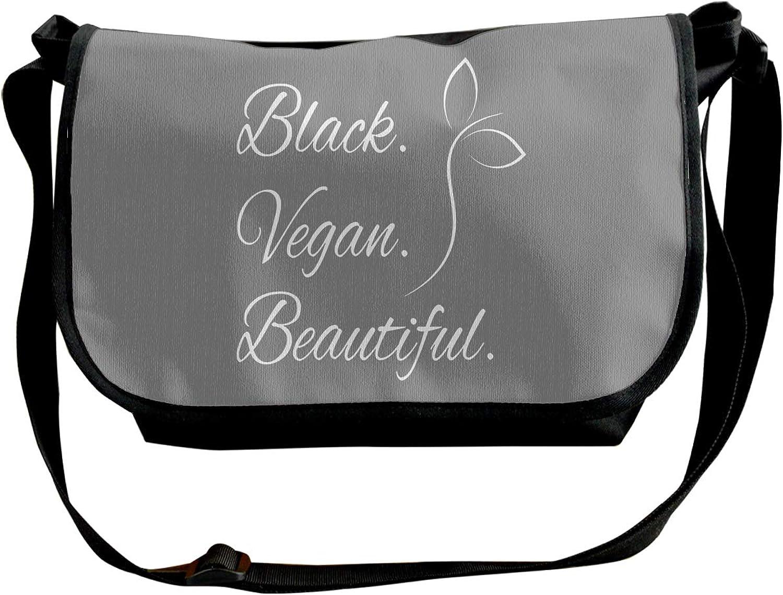 Single Shoulder Pack Black Vegan Beautiful Travel Satchel School Bag for Men