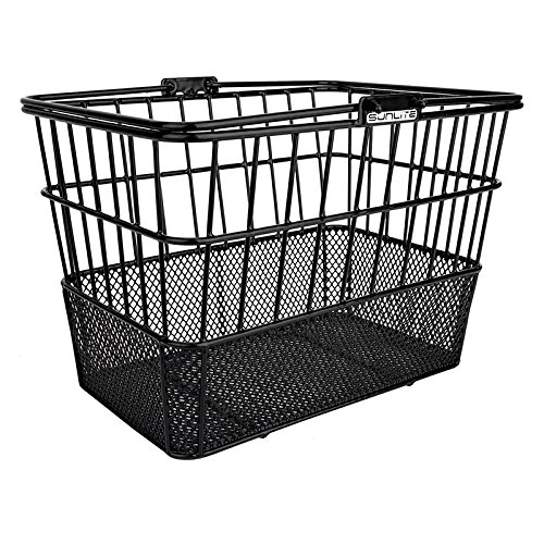 SUNLITE Bicycles Detachable Mesh Bottom Light-Off Bike Basket with Handles