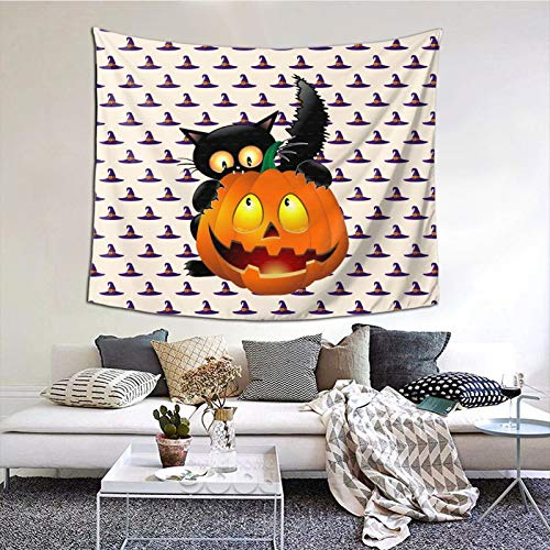 HARTG Halloween Clipart Pumpkin Carving Cat 60×51 Inch Tapestry Wall Hanging, Wall Art Decoration for Living Room Bedroom Home Decor