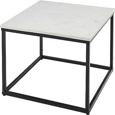 Stella Trading Samy Basse carrée Blanc avec Structure en métal Noir – Table d'appoint Moderne avec Plateau en marbre de qualité supérieure, 60 x 46 x 60 cm