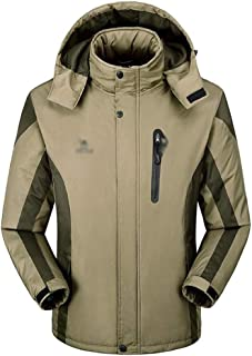 MYCHOME Men's Outdoor Cold-Proof Charge Warm and wear-Resistant Windproof Mountaineering Jacket (Color : Khaki, Size : XXL)