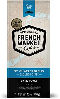 French Market Coffee, St. Charles Blend, Dark Roast Ground Coffee, 12 Ounce Bag