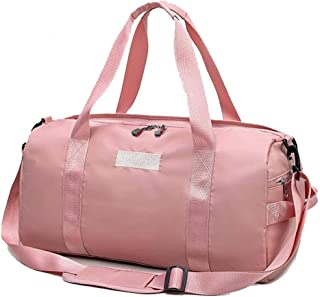 DIEBELLAU Fitness Sports Bag Men's Luggage Travel Bag Shoulder Diagonal Portable Training Bag Female Cylinder Yoga Bag Dry and Wet Separation (Color : Pink)
