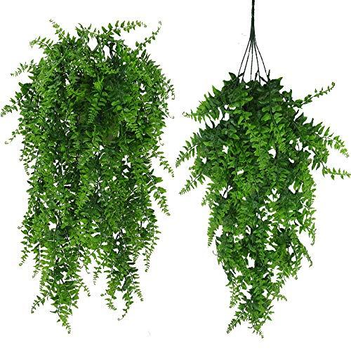 Fycooler Künstliche Pflanzen Grün Boston Fern Persian Rattan, Gefälschte Hängende Pflanze Ivy Vine Outdoor UV-beständig, Faux Pflanzen Reben für Dschungel Party Dekorationen Home Décor Supplies (2Pcs)
