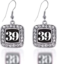 Inspired Silver - Silver Square Charm French Hook Drop Earrings with Cubic Zirconia Jewelry