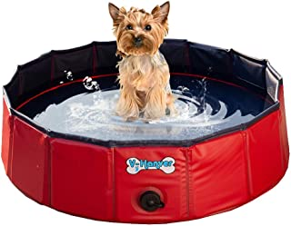 V-HANVER Foldable Dog Pool Hard Plastic Collapsible Pet Bath Tub for Puppy Small Dogs Cats and Kids